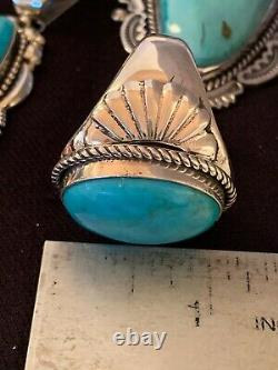 XL MENS Native American Navajo Sterling Silver Blue Turquoise Ring Set 15 4567